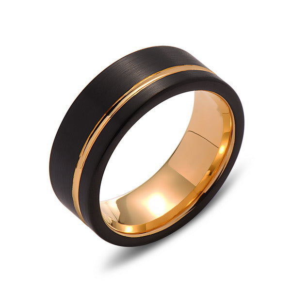 Yellow Gold Tungsten Wedding Band - Black -  Groove Brushed Ring - 8mm Ring - Unique Engagment Band - Comfor Fit - LUXURY BANDS LA