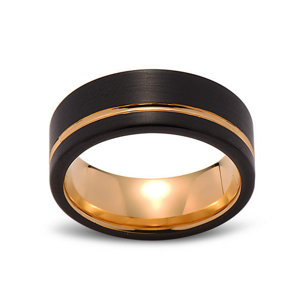 Yellow Gold Tungsten Wedding Band - Black Brushed Ring - 8mm Ring - Unique Engagment Band - Comfort Fit - LUXURY BANDS LA