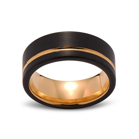 Yellow Gold Tungsten Wedding Band - Black Brushed Ring - 8mm Ring - Unique Engagment Band - Comfor Fit
