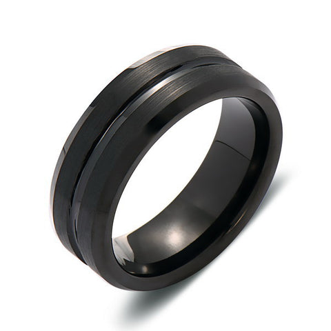 Black Brushed Tungsten Wedding Band - 8MM - Black Groove - Mens Engagement Ring - LUXURY BANDS LA