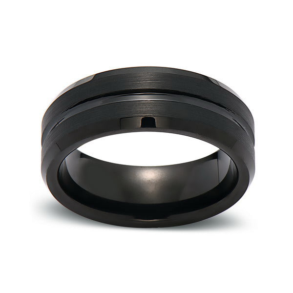 8mm,New,Unique,Black Groove,Black Gun Metal Brushed,Tungsten Rings,Wedding Band,Matching,Comfort Fit - LUXURY BANDS LA