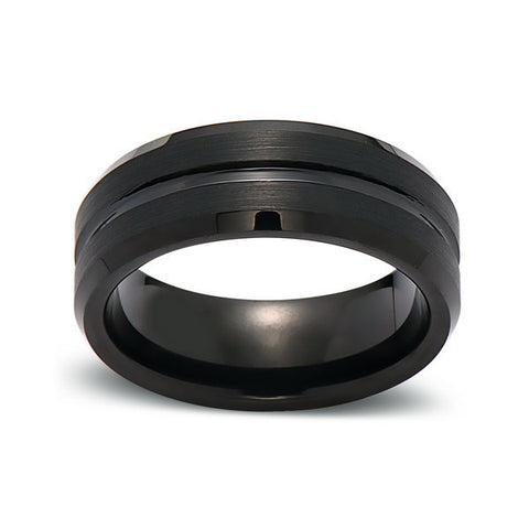 Black Tungsten Wedding Band - 8MM - High Polish - Groove - Unique - Mens Engagement Ring - Comfort Fit