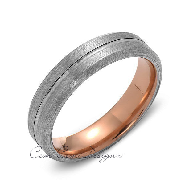 Rose Gold Tungsten Wedding Band - Gray Groove Brushed Ring - 6mm Ring - Unique Engagment Band - Comfor Fit - LUXURY BANDS LA