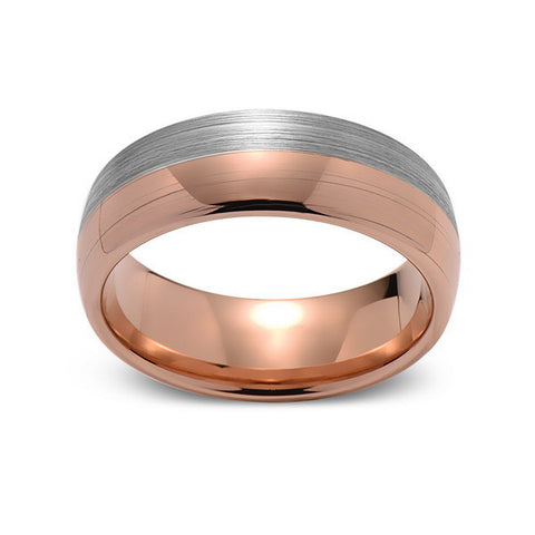 Brushed Rose Gold Tungsten Wedding Band - Brushed Gray - 8mm - Dome  - Tungsten Carbide - Engagement Band - Comfort Fit