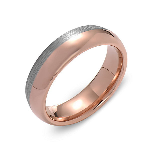 Rose Gold Tungsten Wedding Band - Brushed Gray - 6mm - Dome  - Tungsten Carbide - Engagement Band - Comfort Fit - LUXURY BANDS LA