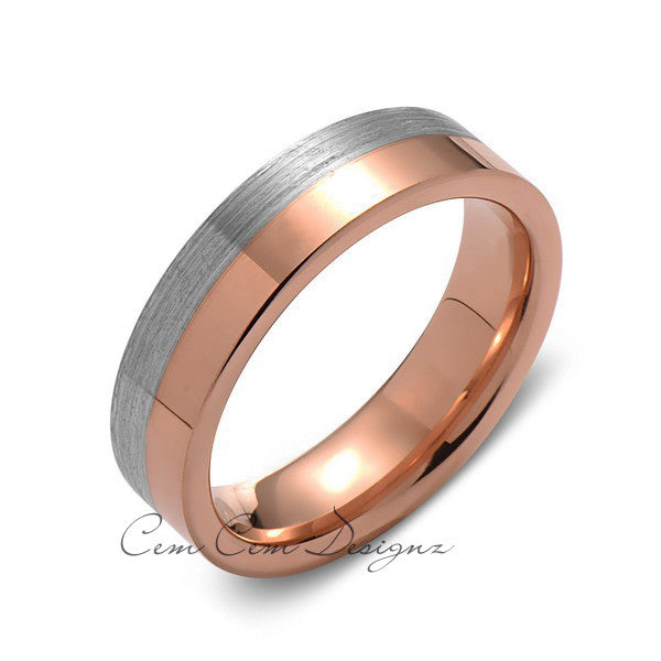 6mm,New,Unique,High Polish Rose Gold,Gray Gun Metal,Tungsten Rings,Wedding Band,Unisex,Comfort Fit - LUXURY BANDS LA