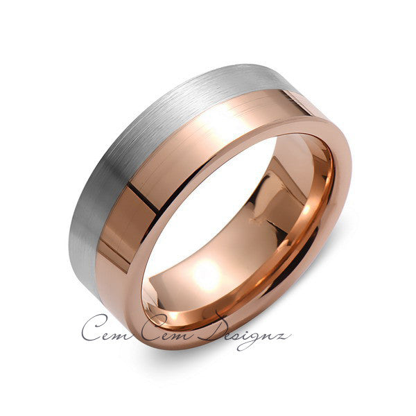 8mm,New,Unique,High Polish Rose Gold,Gray Gun Metal,Tungsten Rings,Wedding Band,Unisex,Comfort Fit - LUXURY BANDS LA