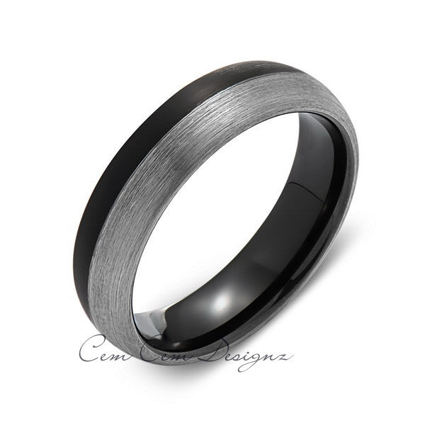 6mm,New,Unique,Black and Gray Gun Metal Brushed,Tungsten Rings,Wedding Band,Matching,Comfort Fit - LUXURY BANDS LA