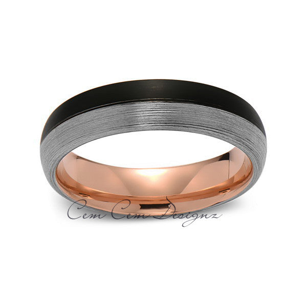 Rose Gold Tungsten Wedding Band - Black and Gray Brushed Tungsten Ring - 6mm - Mens Ring - Tungsten Carbide - Engagement Band - Comfort Fit - LUXURY BANDS LA
