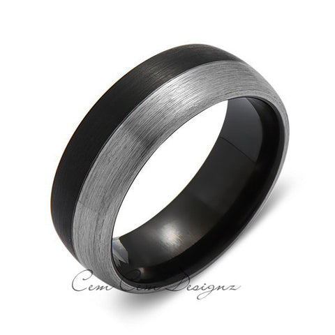 8mm,New,Unique,Black and Gray Gun Metal Brushed,Tungsten Rings,Wedding Band,Matching,Comfort Fit - LUXURY BANDS LA