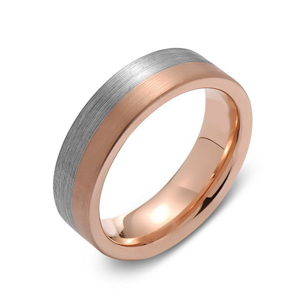 Brushed Rose Gold Tungsten Wedding Band - Brushed Gray - 6mm - Pipe Cut  - Tungsten Carbide - Engagement Band - Comfort Fit - LUXURY BANDS LA