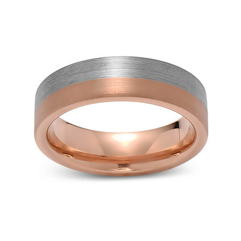 Brushed Rose Gold Tungsten Wedding Band - Brushed Gray - 6mm - Pipe Cut  - Tungsten Carbide - Engagement Band - Comfort Fit