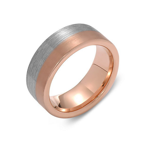 Brushed Rose Gold Tungsten Wedding Band - Brushed Gray - 8mm - Pipe Cut  - Tungsten Carbide - Engagement Band - Comfort Fit