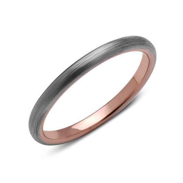Rose Gold Tungsten Wedding Band - Gray Brushed Ring - 2mm Bridal Band - Engagement Ring - Bridal Band - LUXURY BANDS LA