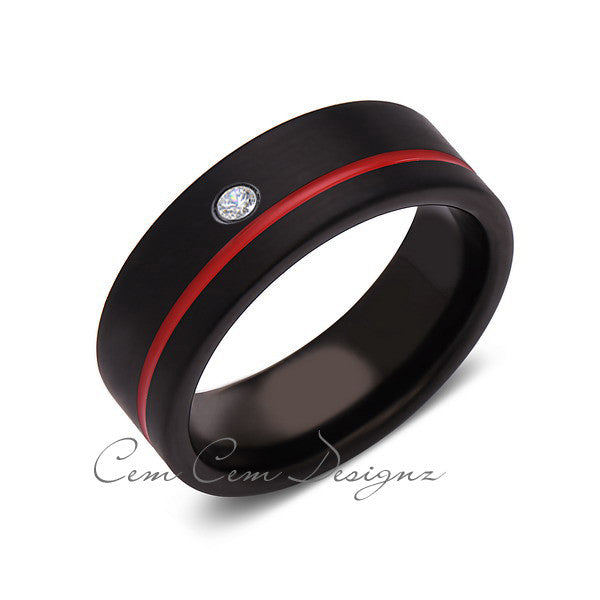 8mm,Mens,Diamond,Red Ring,,Black,Brushed,Red Band,Tungsten Ring,Birthstone,Wedding Band,Comfort Fit - LUXURY BANDS LA