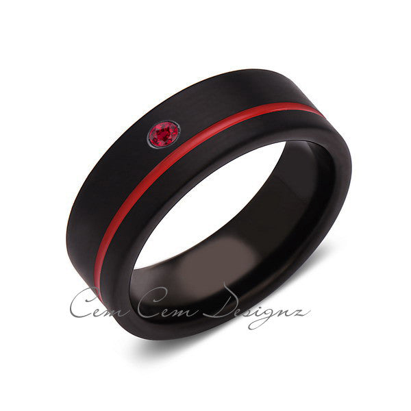 8mm,Mens,Red Ruby,Black,Brushed,Red,Band,Tungsten Ring,Wedding Band,Birthstone,Red Ring,Comfort Fit - LUXURY BANDS LA