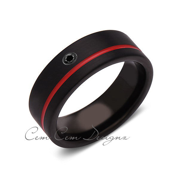 8mm,Mens,Diamond,Red Ring,Black,Brushed,Red Band,Tungsten Ring,Birthstone,Wedding Band,Comfort Fit - LUXURY BANDS LA