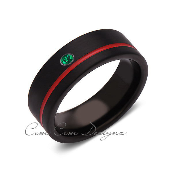 8mm,Green Emerald,Mens Diamond Ring,Black Brushed, Red Groove,Tungsten Ring,Wedding Band,Red,Comfort Fit - LUXURY BANDS LA