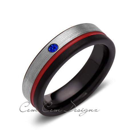 6mm,Blue Sapphire,Mens Diamond Ring,Gray,Black Brushed, Red Groove,Tungsten Ring,Wedding Band,Red,Comfort Fit - LUXURY BANDS LA