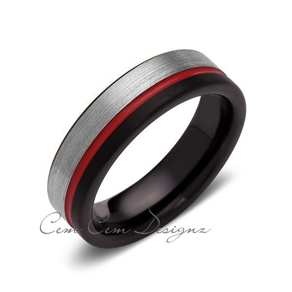 Red Tungsten Wedding Band - Black and Gray Brushed Tungsten Ring - 6mm - Mens Ring - Tungsten Carbide - Engagement Band - Comfort Fit - LUXURY BANDS LA