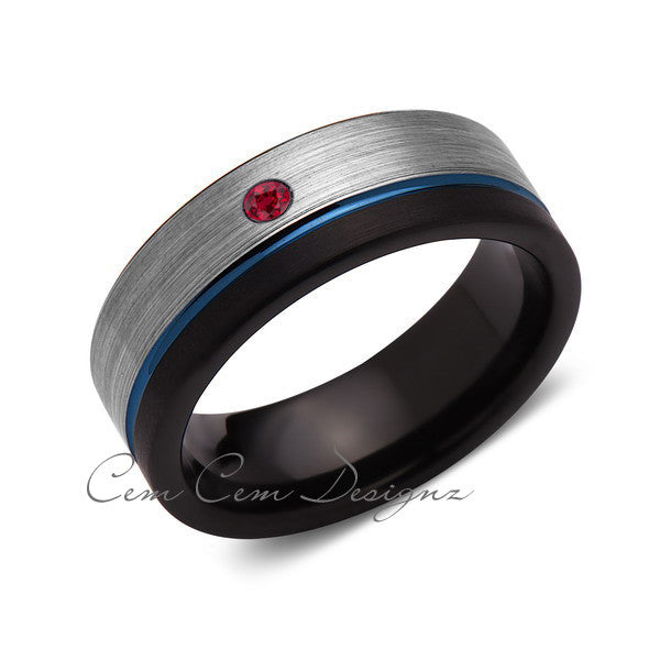 8mm,Mens,Red Ruby,Blue Ring,Gray,Black,Brushed,Blue Band,Tungsten Ring,Wedding Band,Comfort Fit - LUXURY BANDS LA