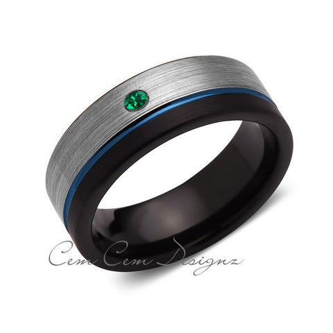 8mm,Green Emerald,Mens Diamond Ring,Gray,Black Brushed, Blue Groove,Tungsten Ring,Wedding Band,Comfort Fit - LUXURY BANDS LA