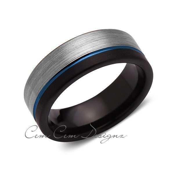 8mm,Brushed Gun Metal,Gray and Black,Blue Tungsten Ring,Mens Wedding Band,Blue Ring,Comfort Fit - LUXURY BANDS LA