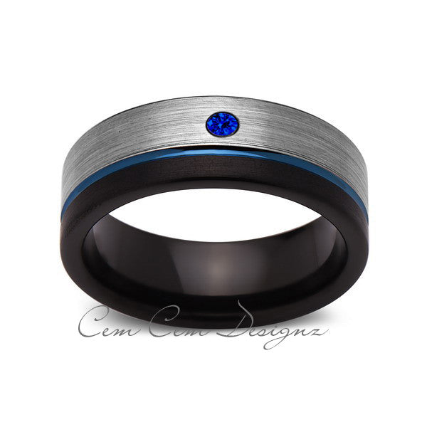 8mm,Blue Sapphire,Mens Diamond Ring,Gray,Black Brushed, Blue Groove,Tungsten Ring,Wedding Band,Blue,Comfort Fit - LUXURY BANDS LA