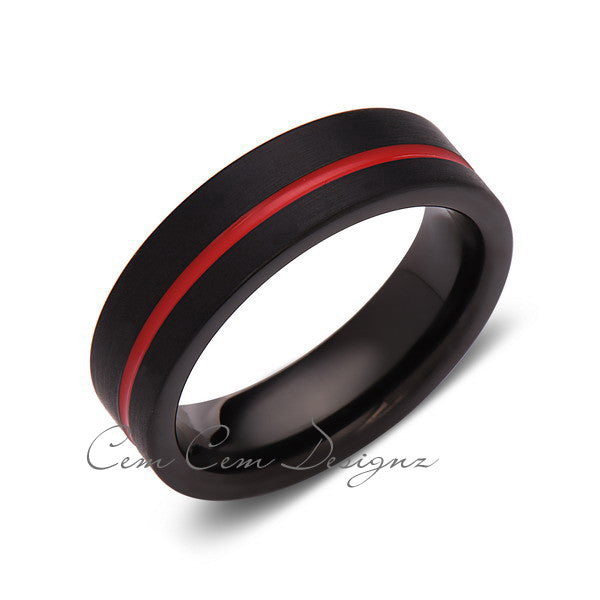 Red Tungsten Wedding Band - Black Brushed Tungsten Ring - 6mm - Mens Ring - Tungsten Carbide - Engagement Band - Comfort Fit - LUXURY BANDS LA