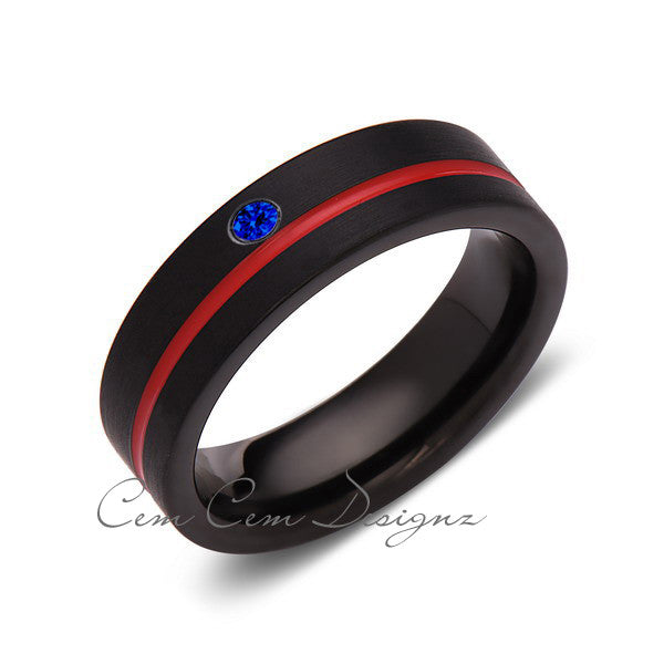 6mm,Blue Sapphire,Mens Diamond Ring,Black Brushed, Red Groove,Tungsten Ring,Wedding Band,Red,Comfort Fit - LUXURY BANDS LA