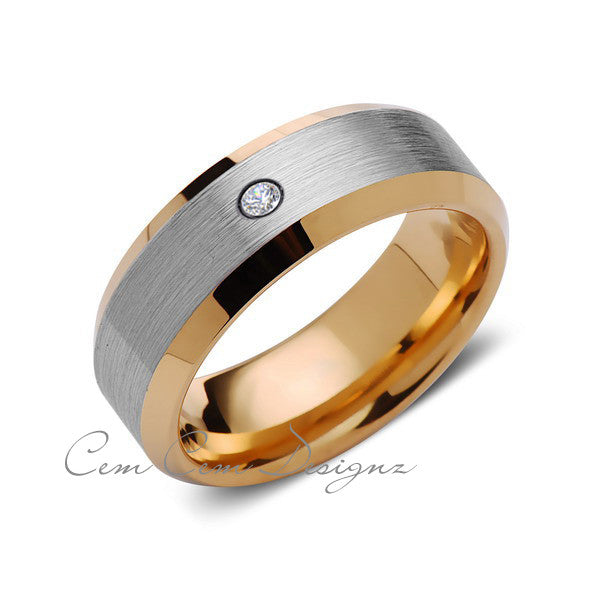 8mm,Mens,Diamond,Gray,Brushed,Yelllow Gold,Tungsten Ring,Yellow Gold,Wedding Band,Comfort Fit - LUXURY BANDS LA