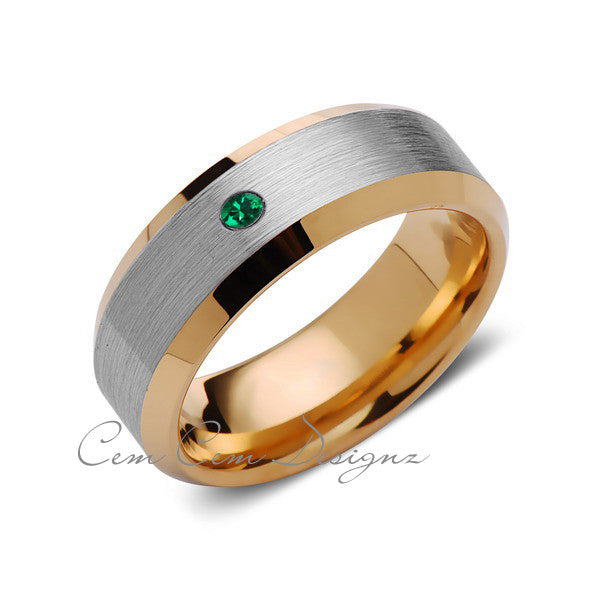 8mm,Mens,Green Emerald,Yellow Gold,Wedding Band,,Gray,Brushed,Yellow Gold,Birthstone,Tungsten Ring,Comfort Fit - LUXURY BANDS LA