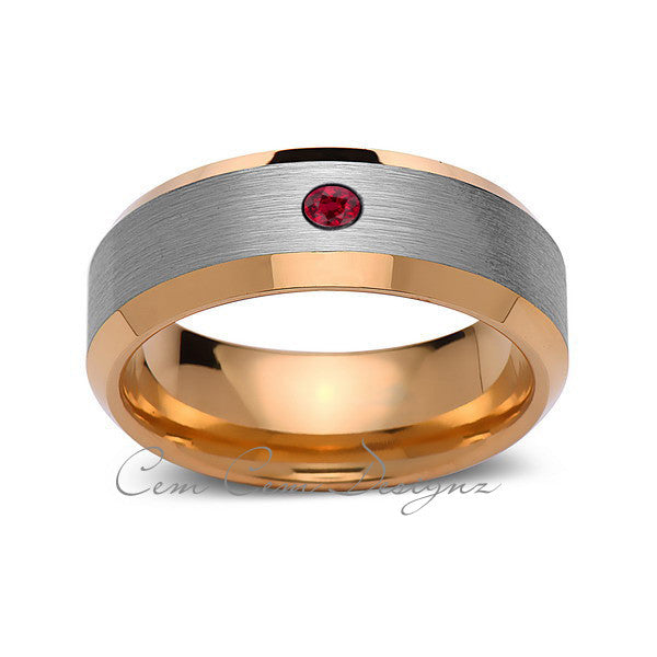 8mm,Mens,Red Ruby,Gray,Brushed,Yellow Gold,Tungsten Ring,Yellow Gold,Wedding Band,Comfort Fit - LUXURY BANDS LA