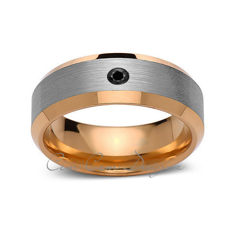 8 mm,Mens,Black Diamond,Yellow Gold,Wedding Band,,Gray,Brushed,Yellow Gold,Tungsten Ring,Comfort Fit - LUXURY BANDS LA