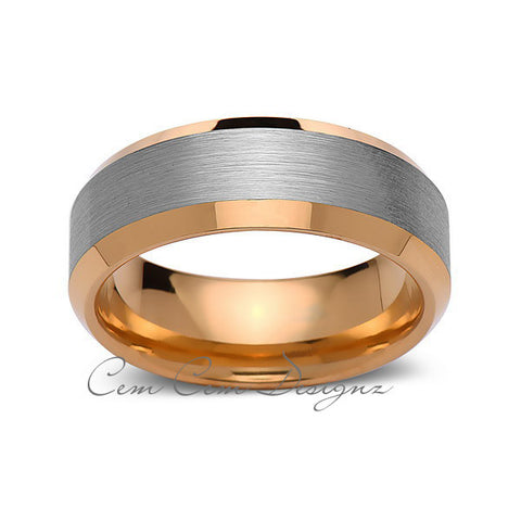 8mm,Unique,Brushed Gray Center,Yellow Gold,Tungsten Rings,Wedding Band,Mens Band,Comfort Fit - LUXURY BANDS LA
