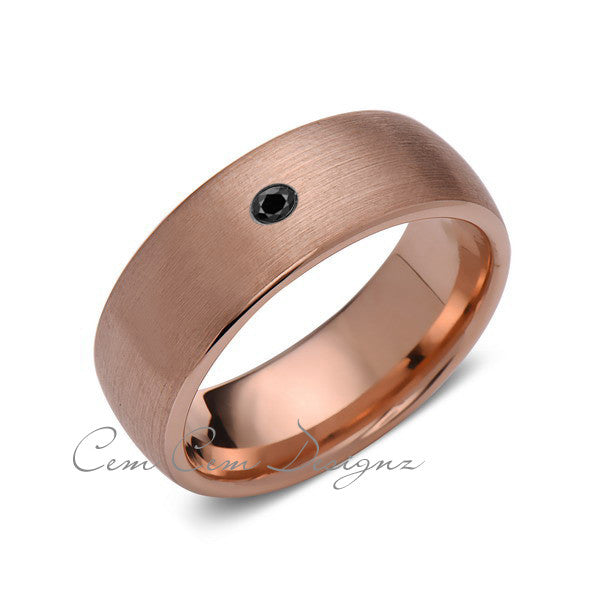 8mm,Mens,Black Diamond,Brushed,Rose Gold,Tungsten Ring,Rose Gold,Wedding Band,Comfort Fit - LUXURY BANDS LA