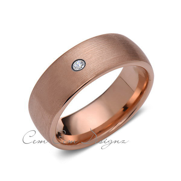 8mm,Mens,Diamond,Brushed,Rose Gold,Wedding Band,unique,Rose Gold,Tungsten Ring,Comfort Fit - LUXURY BANDS LA