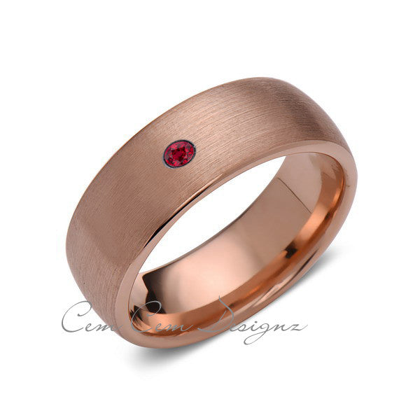 8mm,Mens,Red Ruby,Brushed,Rose Gold,Tungsten Ring,Rose Gold,Birthstone,Wedding Band,Comfort Fit - LUXURY BANDS LA