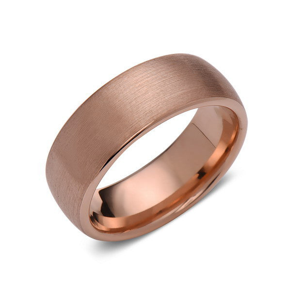 Rose Gold Tungsten Wedding Band - Brushed Rose Gold Tungsten Ring - 8mm - Mens Ring - Tungsten Carbide - Engagement Band - Comfort Fit - LUXURY BANDS LA