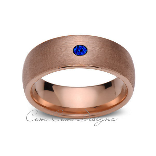 8mm,Mens,Blue Sapphire,Brushed,Rose Gold,Tungsten Ring,Rose Gold,Wedding Band,Comfort Fit - LUXURY BANDS LA