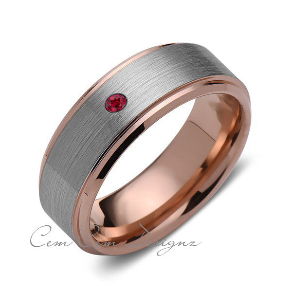8 mm,Men's,Red Ruby,Birthstone,Rose Gold,Wedding Band,,Gray,Brushed,Rose Gold,Tungsten Ring,Comfort Fit - LUXURY BANDS LA