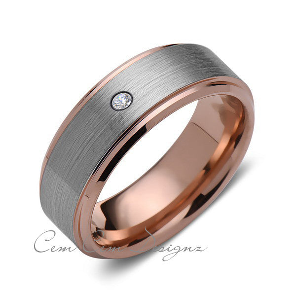 8 mm,Mens,Diamond,Rose Gold,Wedding Band,,Gray,Brushed,Rose Gold,Tungsten Ring,Comfort Fit - LUXURY BANDS LA