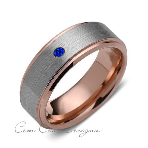 8 mm,Mens,Blue Sapphire,Rose Gold,Wedding Band,,Gray,Brushed,Rose Gold,Birthstone,Tungsten Ring,Comfort Fit - LUXURY BANDS LA