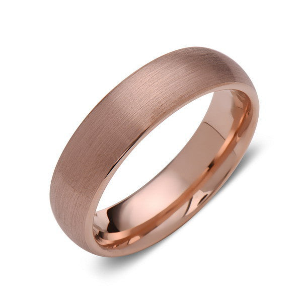 Rose Gold Tungsten Wedding Band - Rose Gold Brushed Tungsten Ring - 6mm - Dome Shaped - Tungsten Carbide - Engagement Band - Comfort Fit - LUXURY BANDS LA