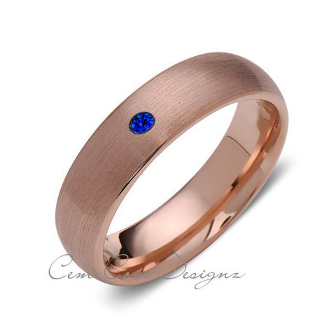 6mm,Mens,Blue Sapphire,Brushed,Rose Gold,Tungsten Ring,Rose Gold,Wedding Band,Comfort Fit - LUXURY BANDS LA