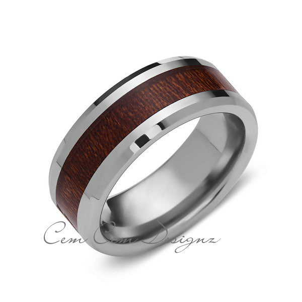 8mm,Unique,White Band,Koa Wood,Tungsten Koa wood,Wedding Band,wood inlay,Unisex,Comfort Fit - LUXURY BANDS LA