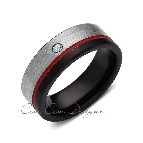 8mm,Mens,Diamond,Red Ring,Gray,Black,Brushed,Red Band,Tungsten Ring,Wedding Band,Comfort Fit - LUXURY BANDS LA