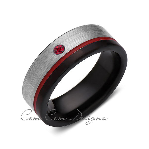 8mm,Mens,Red Ruby,Red Ring,Gray,Black,Brushed,Red Band,Tungsten Ring,Wedding Band,Comfort Fit - LUXURY BANDS LA