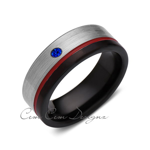 8mm,Blue Sapphire,Mens Diamond Ring,Gray,Black Brushed, Red Groove,Tungsten Ring,Wedding Band,Red,Comfort Fit - LUXURY BANDS LA
