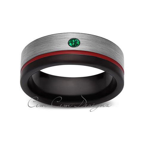 8mm,Green Emerald,Mens Diamond Ring,Gray,Black Brushed, Red Groove,Tungsten Ring,Wedding Band,Red,Comfort Fit - LUXURY BANDS LA